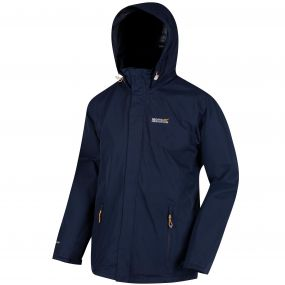 Matt Waterproof Shell Jacket with Concealed Hood Hood Navy