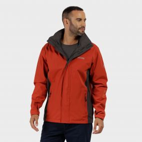 Matt Waterproof Jacket with Concealed Hood Burnt Tikka Seal Grey