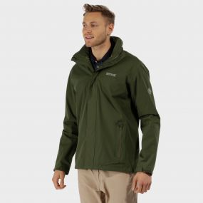 Matt Waterproof Jacket with Concealed Hood Racing Green