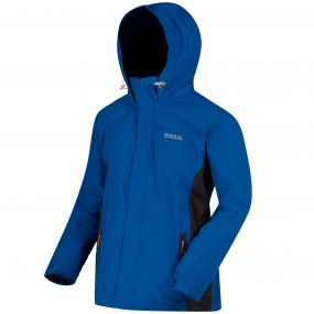 Matt Waterproof Shell Jacket with Concealed Hood Oxford Blue Iron