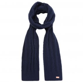 Multimix Cable Knit Scarf Navy