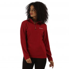 Sweethart Half Zip Lightweight Fleece Rhubarb Red