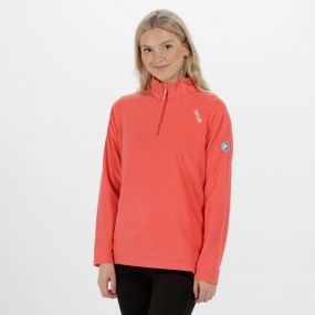 Women's Montes Lightweight Half Zip Fleece Coral Blush Tonal Stripe