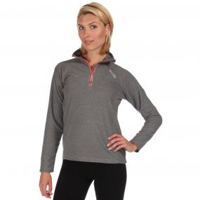 Women's Montes Half Zip Lightweight Mini Stripe Fleece Light Steel