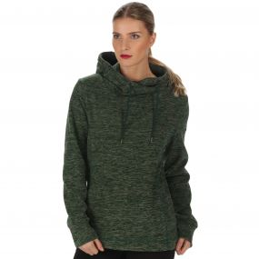 Kizmit II Marl Fleece Oversized Hood Deep Pine Laurel Green