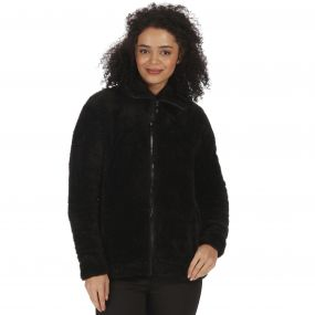 Halsey Fluffy Full Zip Fleece Black