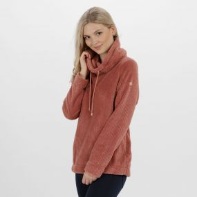 Hermina Cowl Neck Zig Zag Fleece Ash Rose