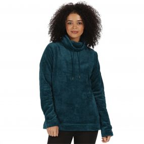 Hermina Fluffy Cowl Neck Fleece Majolica Blue