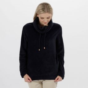 Hermina Cowl Neck Zig Zag Fleece Navy