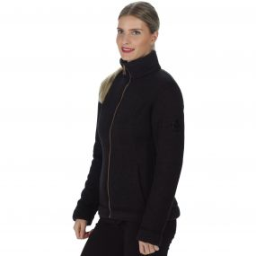 Raneisha Knit Effect Bonded Fleece Black