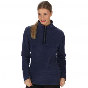Emilyn Half Zip Striped Fleece Navy
