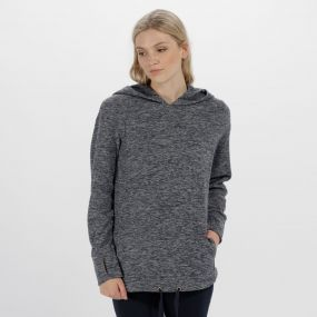 Chantile Marl Fleece Oversized Hood Navy