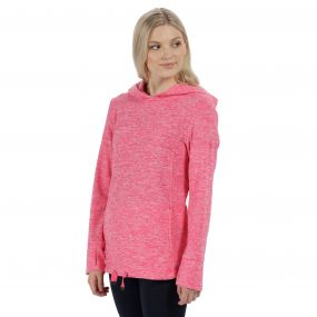Chantile Marl Fleece Oversized Hood Fleece Hot Pink