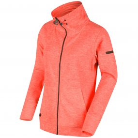 Elayna Full Zip Marl Fleece Neon Peach