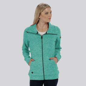 Elayna Full Zip Marl Fleece Jade Green