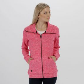 Elayna Full Zip Marl Fleece Hot Pink