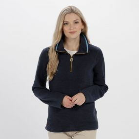 Solenne Half Zip Stripe Fleece Navy
