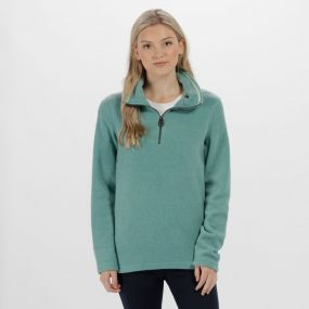 Solenne Half Zip Stripe Fleece Jade Green