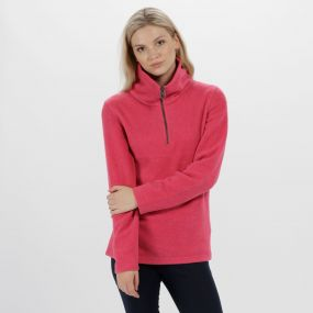 Solenne Half Zip Stripe Fleece Hot Pink