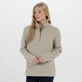 Solenne Half Zip Stripe Fleece Warm Beige