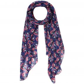 Sancia Printed Cotton Scarf Scarf Navy