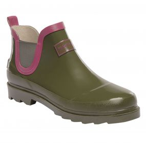 Lady Harper Low Wellington Boot Olive Night Coral