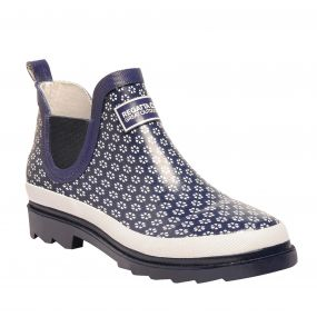 Women's Gala Ankle Height Wellington Boots Navy White