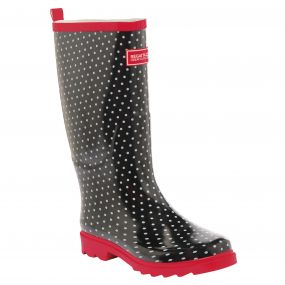 Lady Fairweather Wellington Boot Black Lollipop