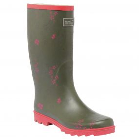 Lady Fairweather Wellington Boot Dusty Olive Pink
