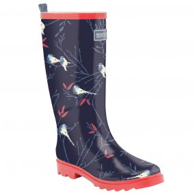 Lady Fairweather Wellington Boot Navy Pink