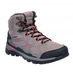 Women's Kota Mid Walking Boots Rock Grey Neon Peach