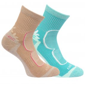 Womens 2 Pack Active Lifestyle Socks Toffee Ceramic