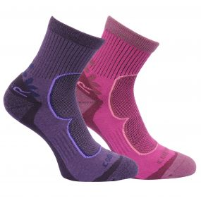 Womens 2 Pack Active Lifestyle Socks Blackberry Viola