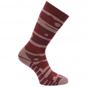 Women's Striped Wellington Socks Dark Pimento Mauve