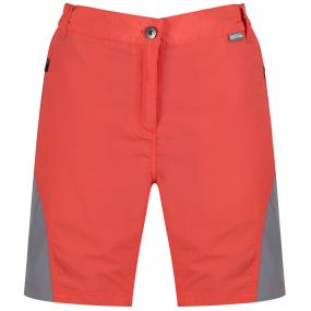 Sungari Lightweight Multi Pocketed Shorts Neon Peach Rock Grey