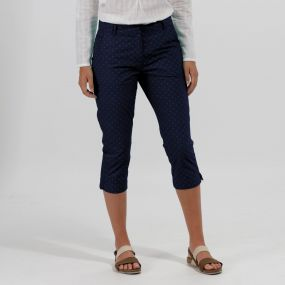 Maleena Coolweave Cotton Capris Trousers Navy