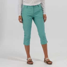 Maleena Coolweave Cotton Capris Trousers Jade Green