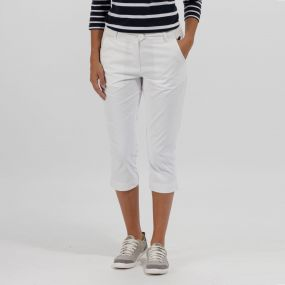 Maleena Coolweave Cotton Capris Trousers White
