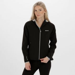 Women's Arec II Hooded Stretch Softshell Jacket Black Light Steel