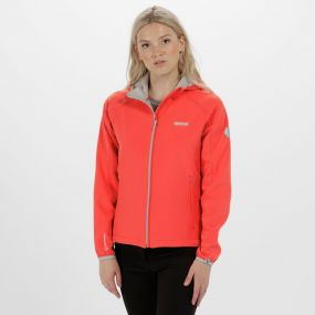 Women's Arec II Hooded Stretch Softshell Jacket Neon Peach Light Steel