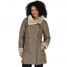 Penthea Long Length Puffer Jacket with Asymmetric Zip Sand