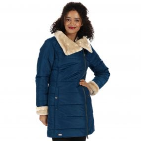 Penthea Long Length Puffer Jacket with Asymmetric Zip Majolica Blue