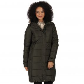 Fermina Long Length Quilted Puffer Parka Jacket Dark Khaki