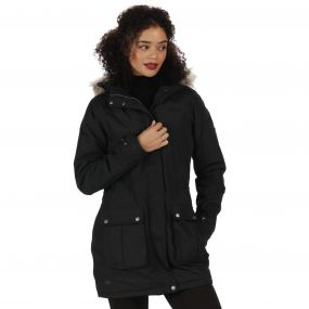 Schima II Waterproof Parka Jacket with Faux Fur Hood Black