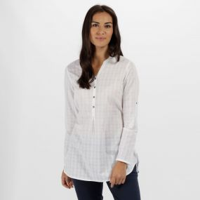 Mackayla All Over Print Coolweave Shirt White Dobby