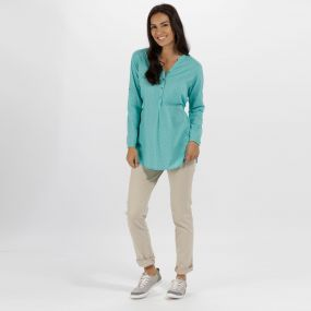 Mackayla All Over Print Coolweave Shirt Jade Green