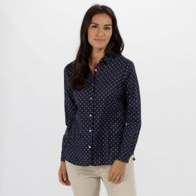 Meena Coolweave Cotton Shirt Navy Fleck Print