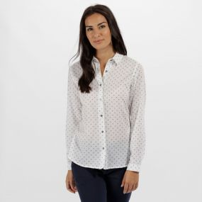 Meena Coolweave Cotton Shirt White Fleck Print