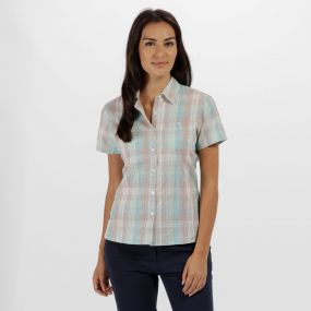 Jenna II Coolweave Cotton Checked Shirt Jade Green