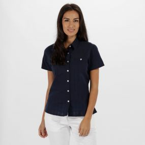 Jerbra II Coolweave Cotton Shirt Navy